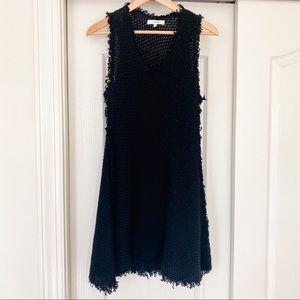 IRO Black Mesh Fit & Flare Dress